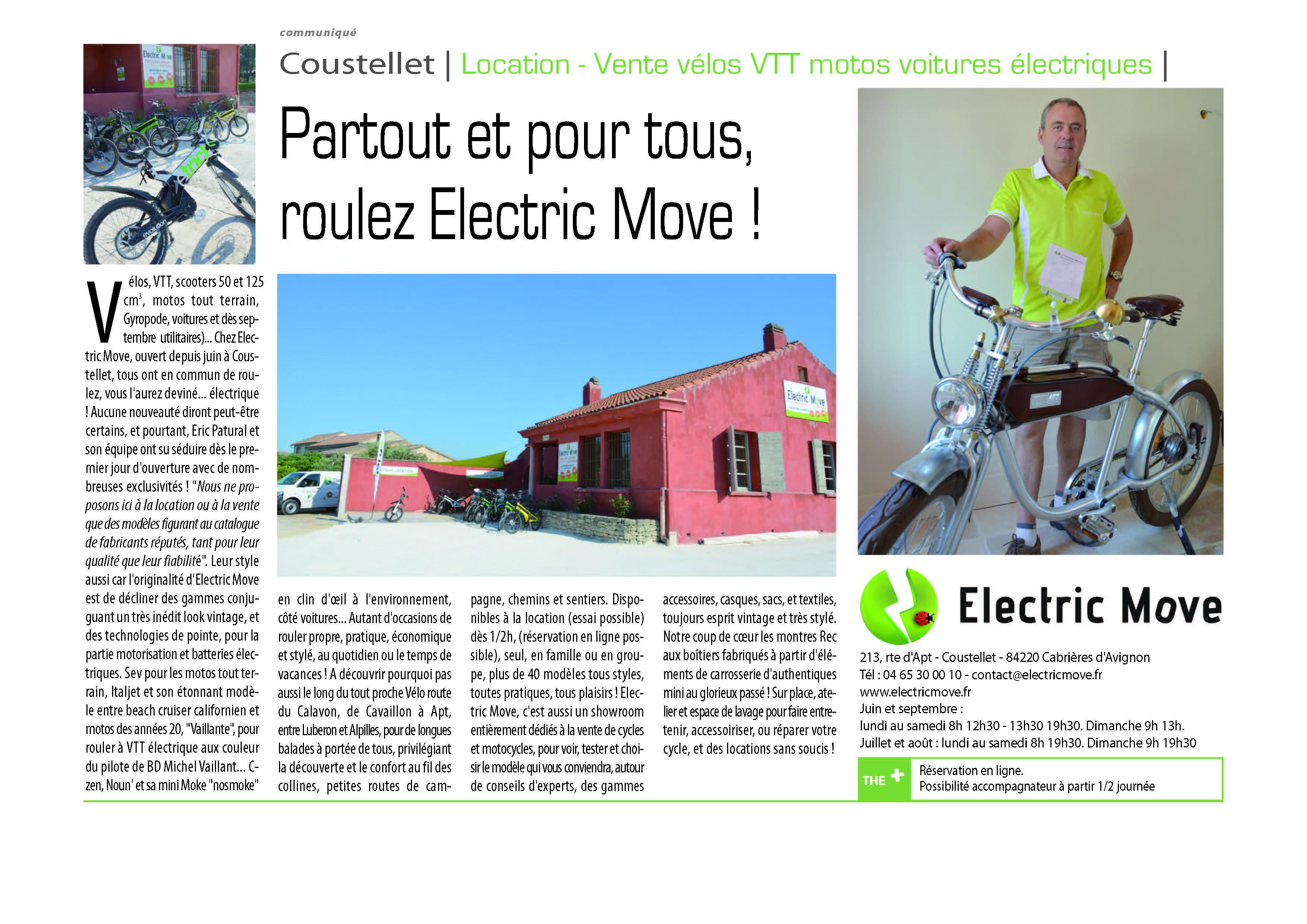 Article d'électricMove dans le Journal du Lubron